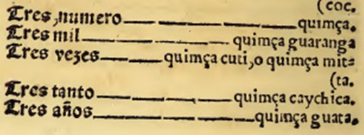Числа в словаре кечуа Доминго де Санто Томаса (1560)