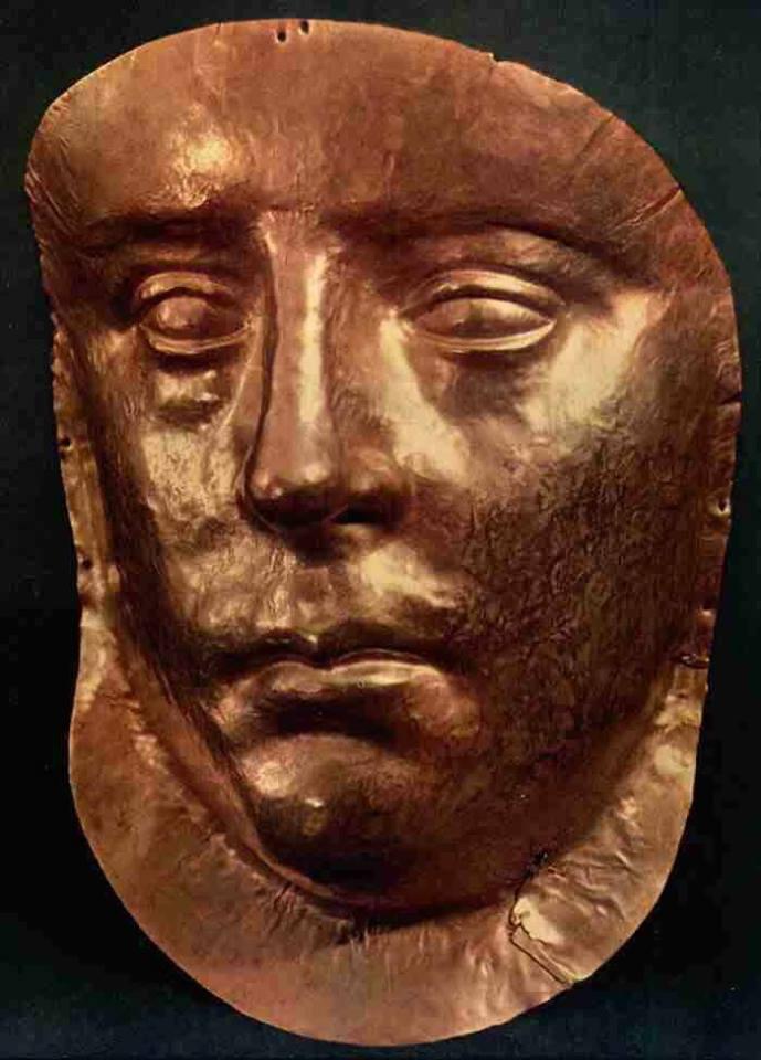 Золота маска з царської гробниці Рескупорідів, Пантікапей (Крим, Україна)