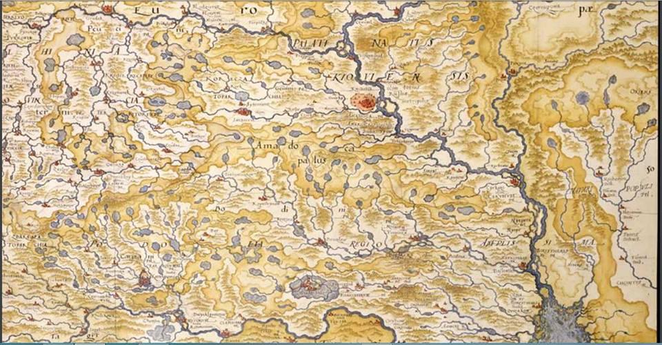 Київські землі, та Східна Україна, 1592 рік. Карта